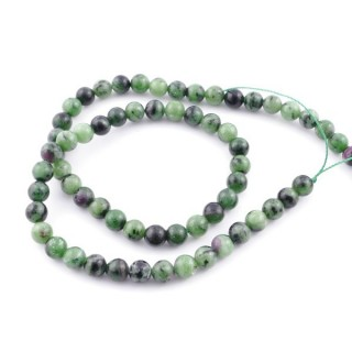 43954 STRING OF 63 BEADS OF 6 MM RUBY IN FUCHSITE STONE