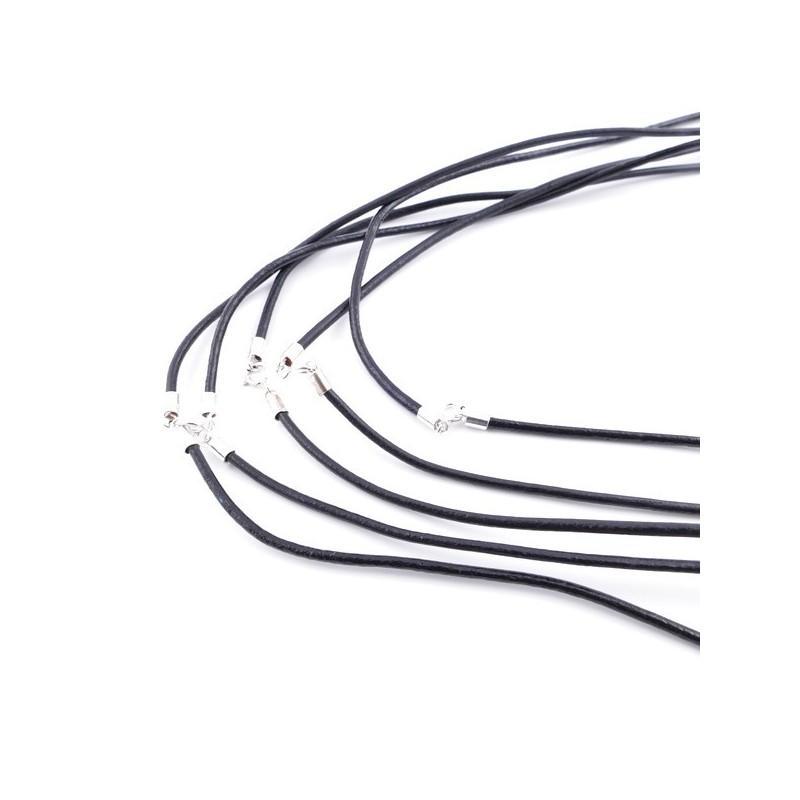 35816-01 PAQUETE DE 5 CORDONES DE CUERO NEGRO DE 2 MM X 40 CM CON CIERRE DE PLATA