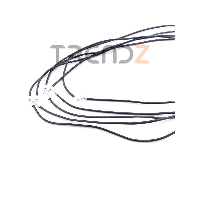 35818-01 PAQUETE DE 5 CORDONES DE CUERO NEGRO DE 2 MM X 50 CM CON CIERRE DE PLATA
