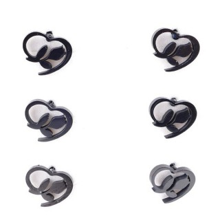 36437-04 PACK OF 3 IDENTICAL PAIRS OF BLACK STAINLESS STEEL EARRINGS
