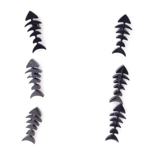 36437-05 PACK OF 3 IDENTICAL PAIRS OF BLACK STAINLESS STEEL EARRINGS