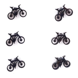 36437-06 PACK OF 3 IDENTICAL PAIRS OF BLACK STAINLESS STEEL EARRINGS