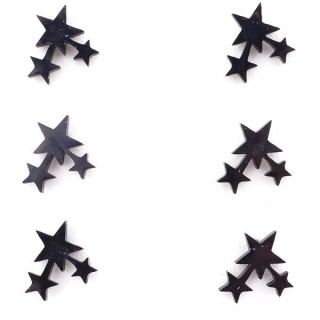 36437-07 PACK OF 3 IDENTICAL PAIRS OF BLACK STAINLESS STEEL EARRINGS