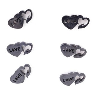 36437-08 PACK OF 3 IDENTICAL PAIRS OF BLACK STAINLESS STEEL EARRINGS