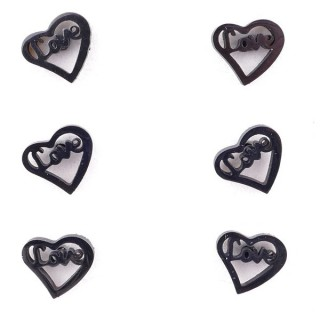 36437-09 PACK OF 3 IDENTICAL PAIRS OF BLACK STAINLESS STEEL EARRINGS