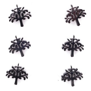 36437-20 PACK OF 3 IDENTICAL PAIRS OF BLACK STAINLESS STEEL EARRINGS