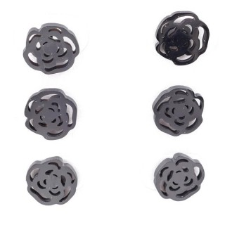 36437-21 PACK OF 3 IDENTICAL PAIRS OF BLACK STAINLESS STEEL EARRINGS
