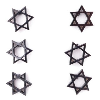 36437-22 PACK OF 3 IDENTICAL PAIRS OF BLACK STAINLESS STEEL EARRINGS