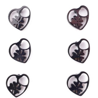 36437-24 PACK OF 3 IDENTICAL PAIRS OF BLACK STAINLESS STEEL EARRINGS