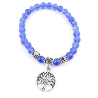 33766-22 ELASTIC BLUE QUARTZ STONE PEDANT WITH FASHION JEWELRY TREE OF LIFE CHARM