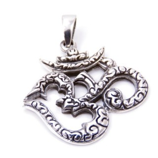 34209 STERLING SILVER OM SHAPED 30 X 30 MM PENDANT