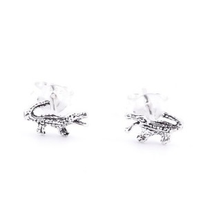 34288 CROCODILE SHAPED 6 X 9 MM SILVER 925 POST EARRINGS