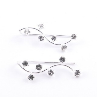 52142-18 STERLING SILVER 22 X 8 MM CLIMBER EARRINGS WITH GLASS STONES