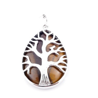 36104-09 TREE OFL IFE 35 X 26 MM PENDANT WITH STONE IN TIGER'S EYE