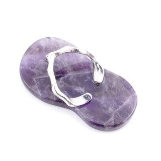 36101-05 FLIP FLOP SHAPED 42 X 23 MM PENDANT WITH STONE IN AMETHYST