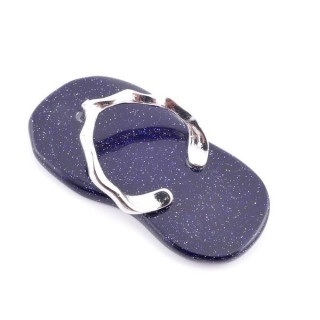 36101-11 FLIP FLOP SHAPED 42 X 23 MM PENDANT WITH STONE IN BLUE SANDSTONE