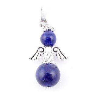 33845-13 PACK OF 3 METAL ANGEL SHAPED 37 X 12 MM PENDANTS WITH STONE IN LAPIS LAZULI