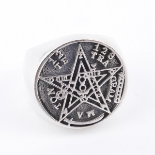 50002-18 SOLID SILVER 20 MM TETRAGRAMMATON SIZE 18 RING