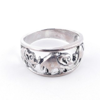 36542-16 SOLID SILVER ELEPHANT 10 MM RING SIZE 16