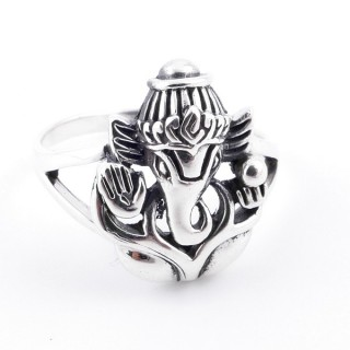 50034-16 SOLID SILVER 17 X 14 MM GANESHA SIZE 16 RING