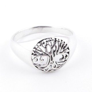 50035-17 SOLID SILVER 12 MM TREE OF LIFE SIZE 17 RING