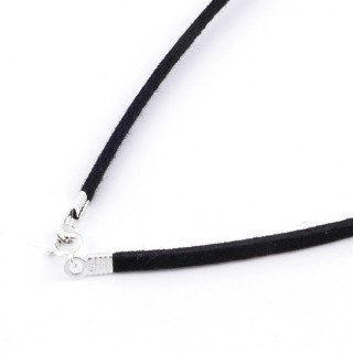 36379-02 PACK OF 5 PCS 45 CM VELVET CORDS WITH SILVER 925 CLASP IN BLACK