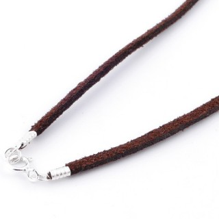 36379-04 PACK OF 5 PCS 40 CM VELVET CORDS WITH SILVER 925 CLASP IN BROWN