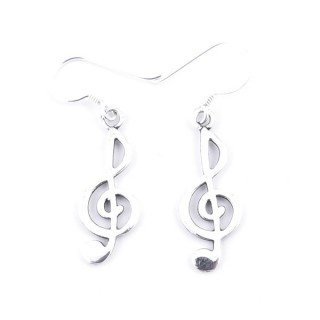 55070 MUSICAL NOTE DESIGN STERLING SILVER 24 X 9 MM EARRINGS