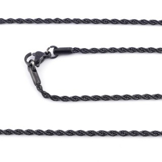 36434 BLACK COLOURED STAINLESS STEEL 2 MM X 45 CM CHAIN