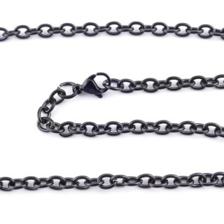 36389 BLACK STAINLESS STEEL 4 MM X 45 CM CHAIN