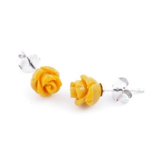 21001-08 FLOWER SHAPED 7 MM RESIN AND STERLING SILVER EARRINGS