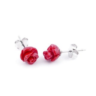 21001-11 FLOWER SHAPED 7 MM RESIN AND STERLING SILVER EARRINGS
