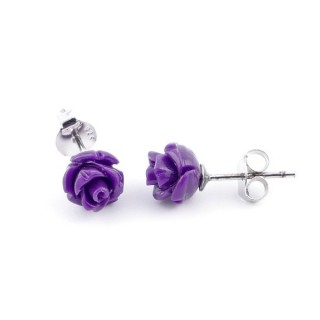 21001-12 FLOWER SHAPED 7 MM RESIN AND STERLING SILVER EARRINGS