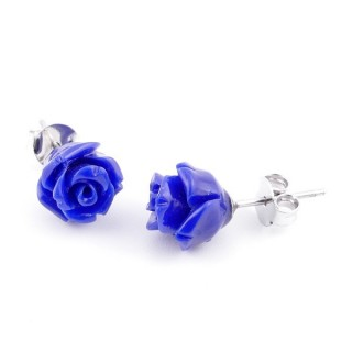 21002-09 FLOWER SHAPED 8 MM RESIN AND STERLING SILVER EARRINGS