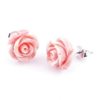 21004-03 FLOWER SHAPED 12 MM RESIN AND STERLING SILVER EARRINGS