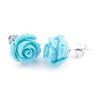 21004-05 FLOWER SHAPED 12 MM RESIN AND STERLING SILVER EARRINGS