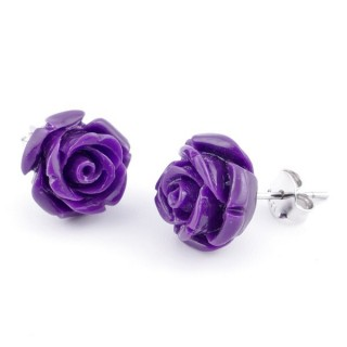 21004-12 FLOWER SHAPED 12 MM RESIN AND STERLING SILVER EARRINGS