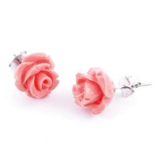 21003-07 FLOWER SHAPED 10 MM RESIN AND STERLING SILVER EARRINGS