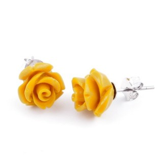 21003-08 FLOWER SHAPED 10 MM RESIN AND STERLING SILVER EARRINGS