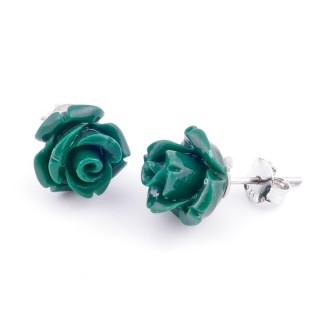 21003-13 FLOWER SHAPED 10 MM RESIN AND STERLING SILVER EARRINGS