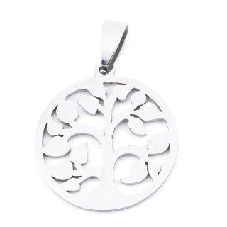 36162-11 STAINLESS STEEL 25 MM TREE OF LIFE PENDANT