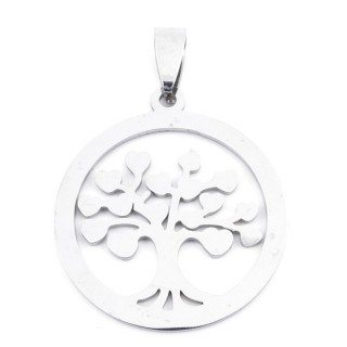 36162-17 TREE OF LIFE 30 MM ROUND STAINLESS STEEL PENDANT