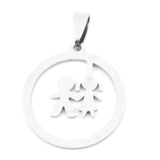 36162-18 STAINLESS STEEL 27 MM ROUND GIRL & BOY PENDANT