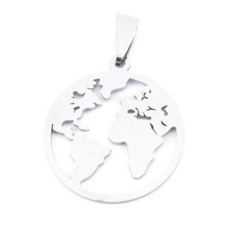 36162-20 STAINLESS STEEL 27 MM WORLD MAP PENDANT