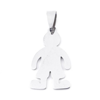 36162-27 BOY SHAPED STAINLESS STEEL 31 X 18 MM PENDANT