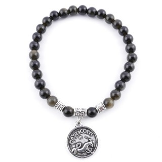 35524 ELASTIC 6 MM CAPRICORN HOROSCOPE BRACELET WITH OBSIDIAN STONE