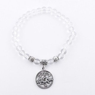35525 ELASTIC 6 MM VIRGO HOROSCOPE BRACELET WITH CRYSTAL QUARTZ STONE