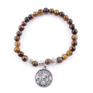 35528 ELASTIC 6 MM GEMINI HOROSCOPE BRACELET WITH TIGER'S EYE STONE