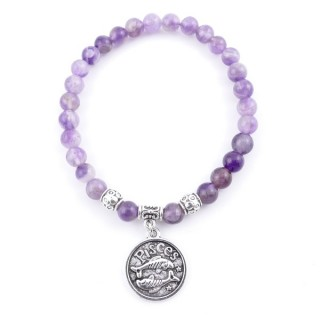 35532 ELASTIC 6 MM PISCES HOROSCOPE BRACELET WITH AMETHYST STONE