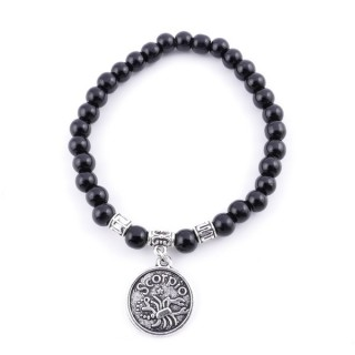 35534 ELASTIC 6 MM SCORPIO HOROSCOPE BRACELET WITH ONYX STONE